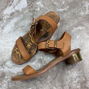 Sam Edelman Trina Tan Sandals Size 8 Gold Heel